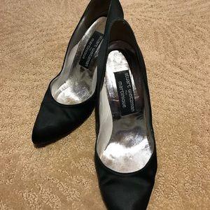 Stuart Whitman Black Satin Stiletto Pumps Size 8.5
